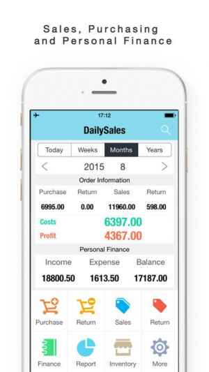 daily sales tracker sales items storage inventory iphone android